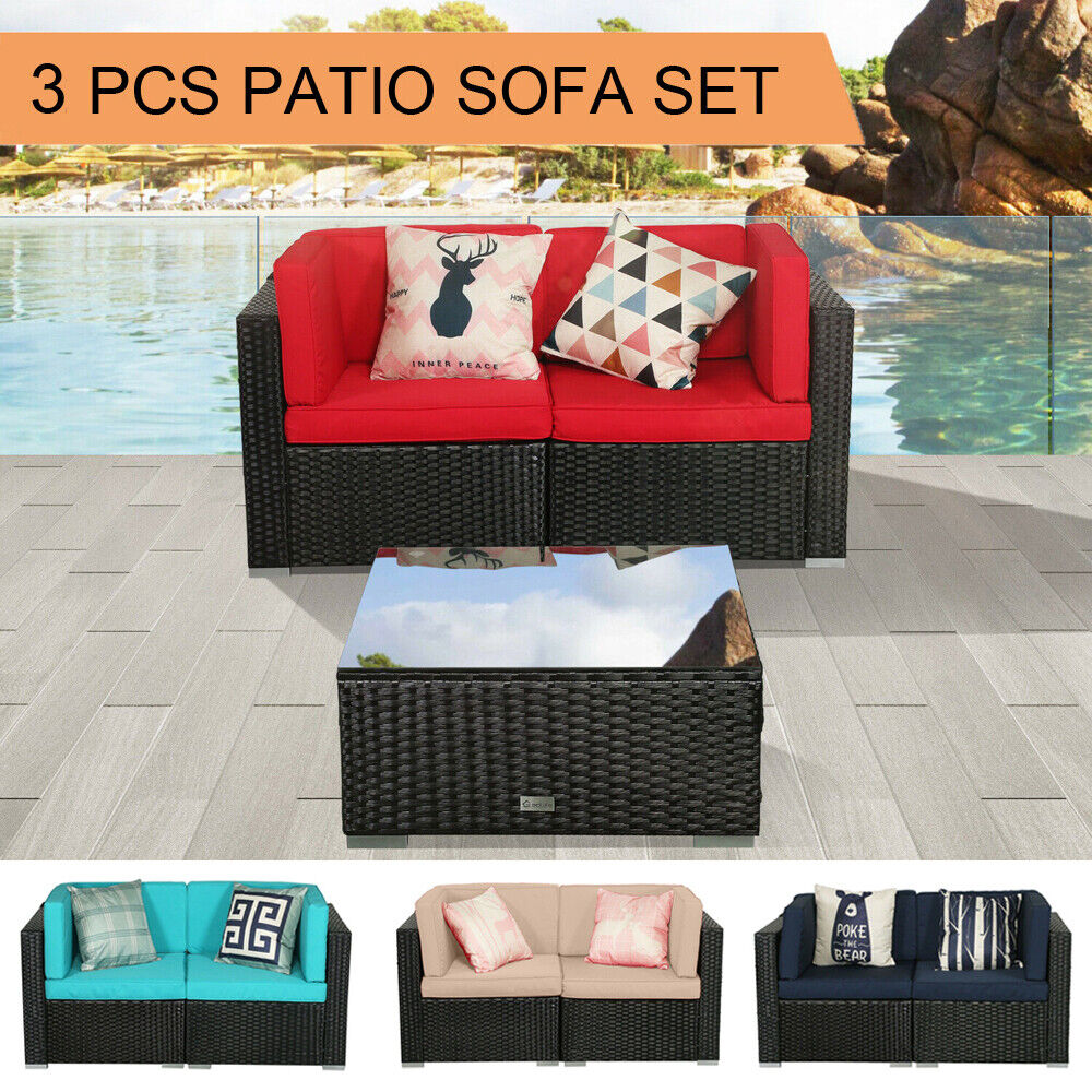 Garden Furniture - 3 PCS Patio Outdoor Wicker Rattan Furniture Garden Sofa Set Cushions Table Couch