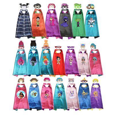 Superhero Capes with masks Kids Girls Cosplay Vampire Costume Halloween Birthday (Girls Cape)