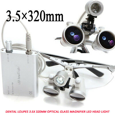 Dentist Dental Loupes 3.5x 320mm Optical Glass Magnifier Led Head Light Denshine