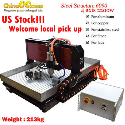 Cnc 6090 4axis 2.2kw Router Machine Steel Metal Engraving Millingcut Machine Us