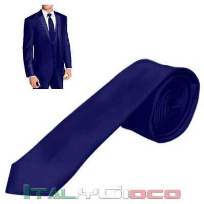 Cravatta Uomo Sottile Elegante Matrimonio Da Cerimonia Slim Fit Casual Blu Scuro