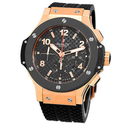 HUBLOT 18K Rose Gold Big Bang 45mm Carbon Chronograph 301.PB.131.RX Warranty