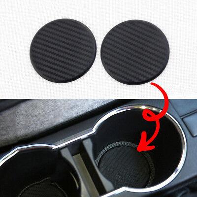 Auto Accessories 2006 Mini - 2*Black Car Vehicle Water Cup Slot Non-Slip Carbon Fiber Look Mat Accessories US