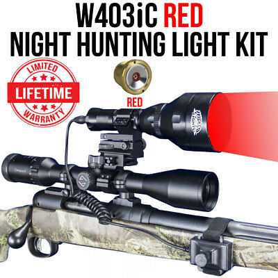 Wicked Lights W403iC RED Night Hunting Light Kit for Coyotes, Hogs, Foxes - Nite Light Hunting Lights