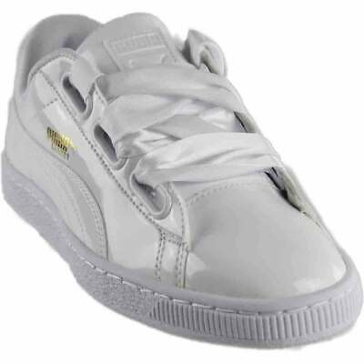 Puma Basket Heart Patent Sneakers Casual    - White - Womens