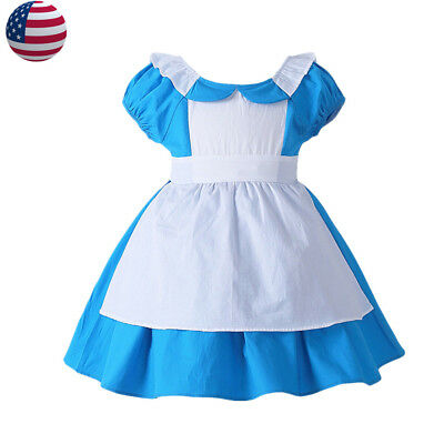 Alice In Wonderland Costume Kids Halloween Blue Maid Fancy Dress