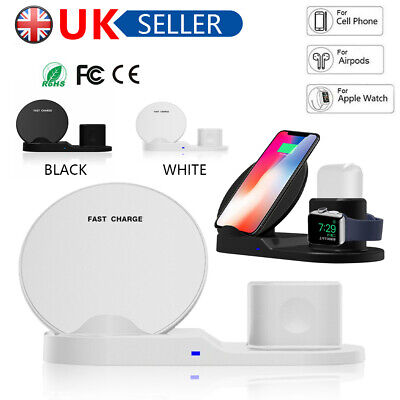 For Apple iPhone Watch Airpods Qi Wireless Charger Dock Stand Fast Charging 3in1