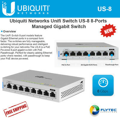 Ubiquiti Networks UniFi Managed Switch US-8 8-Ports Gigabit PoE Compliant