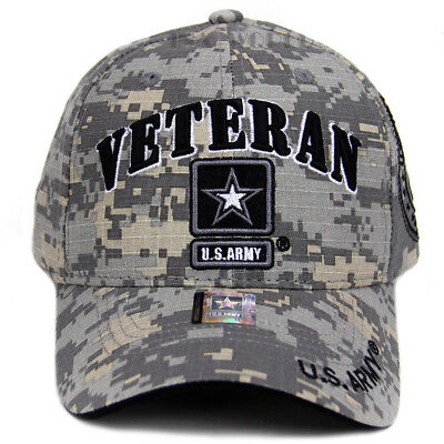 US Army Veteran Hat ACU Digital Camo Gray Border w/ Black Star Logo Seal Side