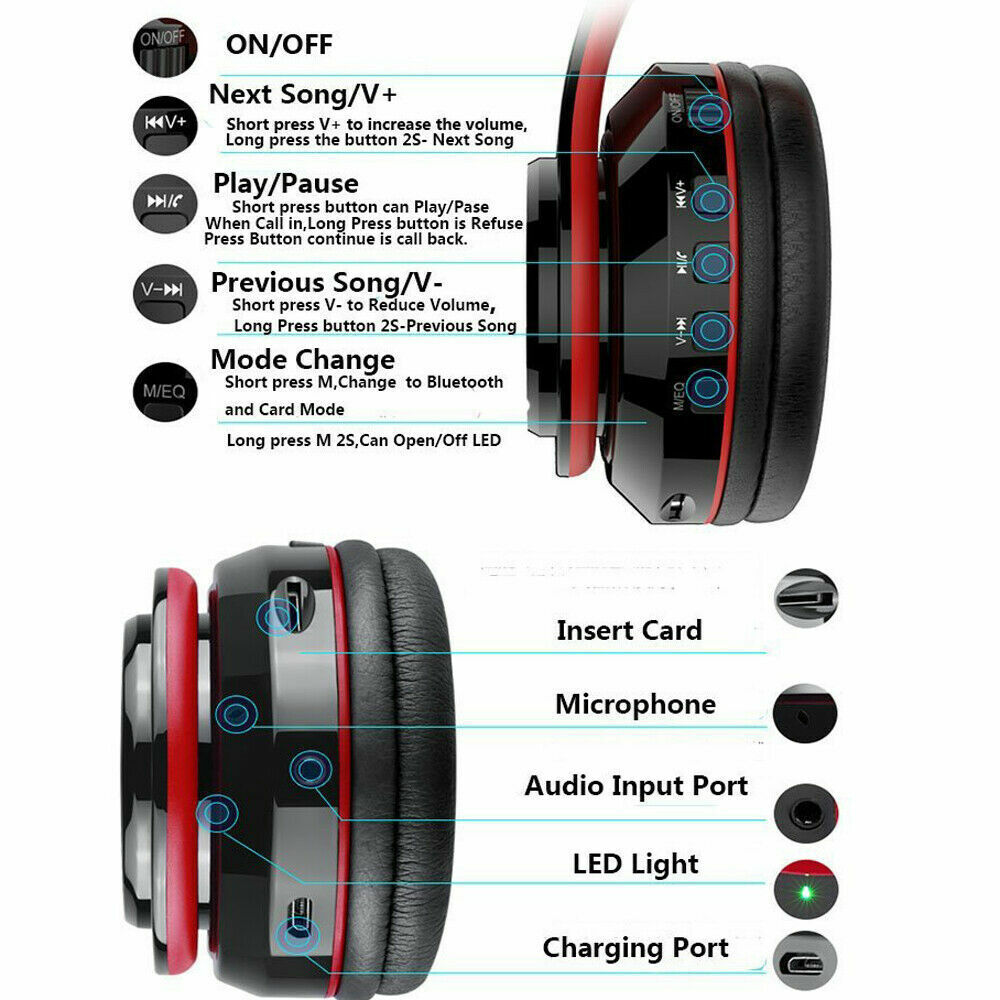 Wireless Bluetooth Headphones Super Bass Foldable Stereo Earphones Headsets Mic