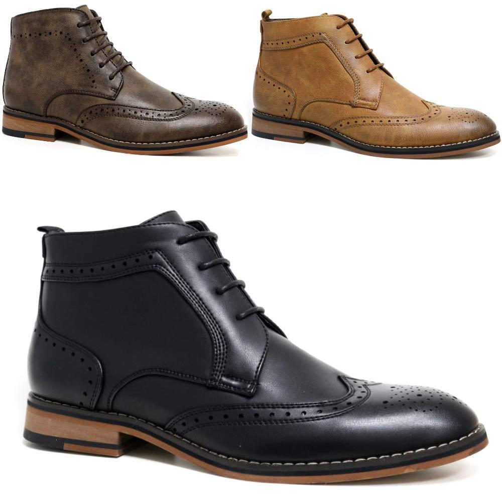 8647eb9f Mens Cavani Leather Boots New Smart Formal Brogue Combat Lace Ankle Boots  Shoes