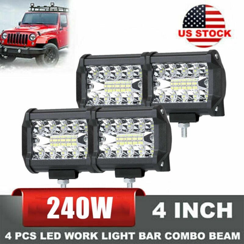 "4PCS 4""Inch 12V 1200W LED Work Light Bar Flood Pods Driving Off-Road Tractor 4WD"