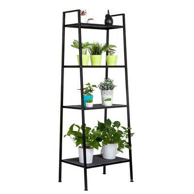 4 Tiers Metal Leaning Ladder Shelf Bookcase Bookshelf Storage Shelves Black Us
