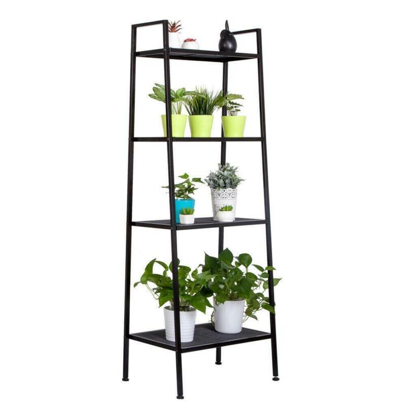 4 Tiers Metal Leaning Ladder Shelf Bookcase Bookshelf Storage Shelves Black US