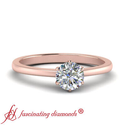3/4 Carat Round Cut Diamond Tapered Style Solitaire Engagement Ring For Women
