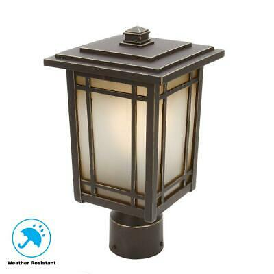 Home Decorators Oxford 1-Light Oil-Rubbed Chestnut Outdoor Post Mount Lantern 1 Light Outdoor Post Mount