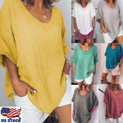 Women Summer Short Sleeve Casual Loose Baggy Tunic Tops T Sh
