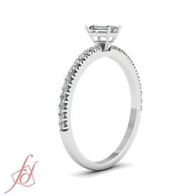 Affordable Engagement Ring 0.70 Ct Emerald Cut & Round Diamond In 14K Gold GIA 2