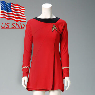 Classic Star Trek Costume (Classic Star Trek Female Duty TOS Red Uniform Dress Cosplay Costume Suit)