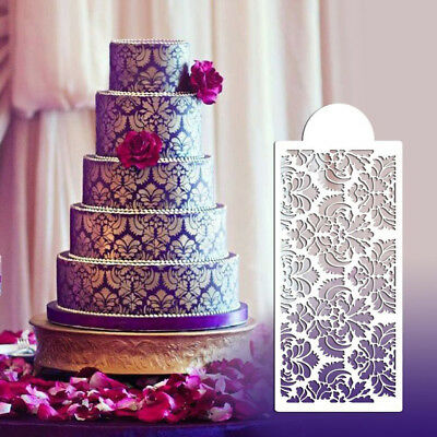 Baking Tool Side Decor Mould Damask Lace Flower Border Fondant Cake -