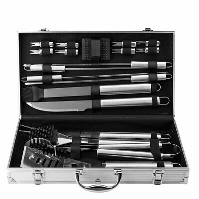 BBQ Barbecue Set Essential Grill Tools - 19pcs Utensil Cutlery Cooking Tool Case