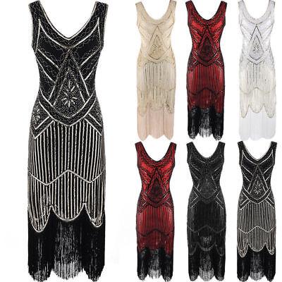 Damen 1920 20er 30er Jahre Charleston Kostüm Kleid Flapper Fransen Party Kleid