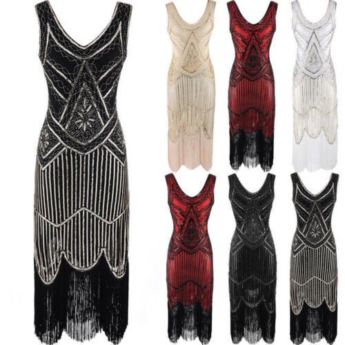 Damen 1920 20er 30er Jahre Charleston Kostüm Kleid Flapper Fransen Party Kleid