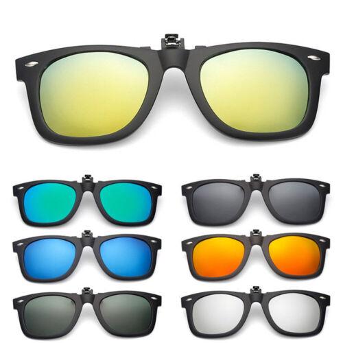 Matte Polarized Lens Glare Block Clip on Glasses Flip Up Sunglasses Black Clothing, Shoes & Accessories