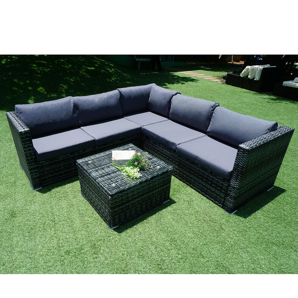 Garden Furniture - 6 Seater Rattan Garden Corner Sofa Table & Chair Furniture Set Outdoors Lounge