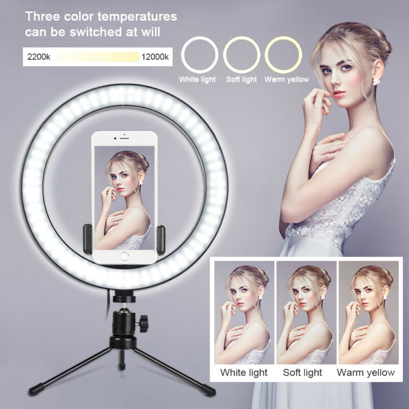 """10"""" LED Ring Light Camera Lamp+8"""" Tripod Stand Phone Holder For Video Live"""