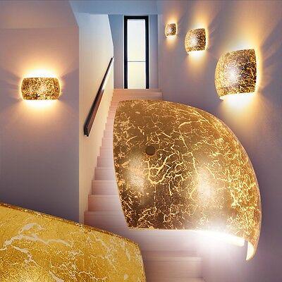 Design Wand Flur Leuchten goldfarben Strahler Wohn Zimmer Lampen Wandleuchte
