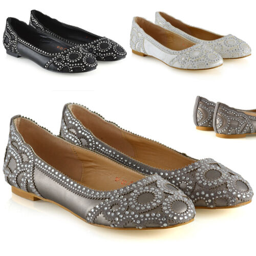 New Womens Bridal Pumps Shoes Ladies Diamante Party Slip On Size 3-9