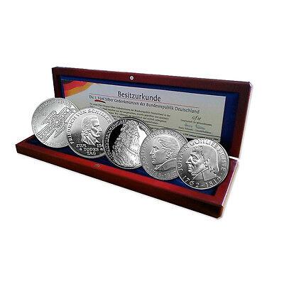 Silbermünzen BRD: 5 DM 1952-1964 Die Ersten Fünf im Set im Etui mit Zertifikat