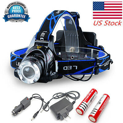 USA 2000LM CREE XM-L T6 LED HEADLIGHT HEAD LIGHT LAMP ZOOMABLE BATTERY + CHARGER