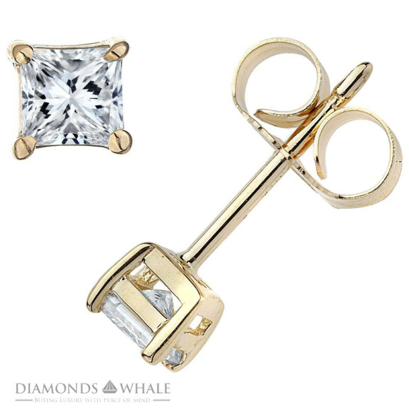 Engagement Diamond Earrings 0.9 Ct Vs1/e Stud Princess 18k Yellow Gold Enhanced