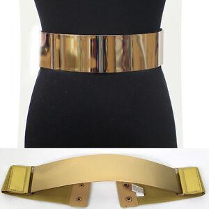 wide stretch elastic mirror metal gold plate waist