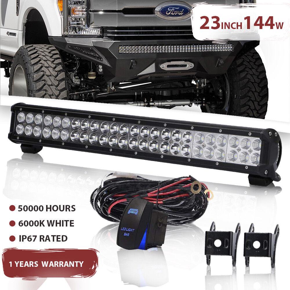 "Quad Row 22inch LED Light Bar Flood Spot Offroad For Jeep Truck ATV SUV 23/""24/"""