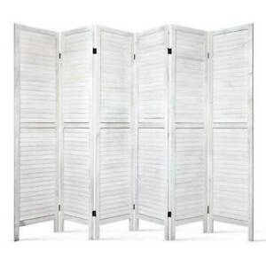 Room Divider 6  Panel  Privacy  Wood Folding   White or Grey Kings Beach Caloundra Area Preview
