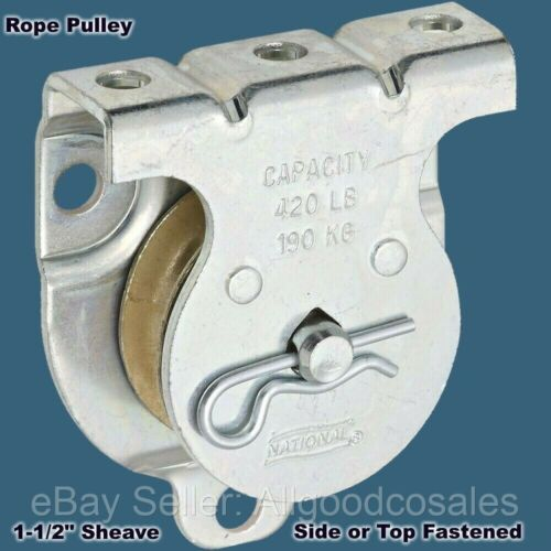 "ROPE PULLEY Wall or Ceiling Mount 1-1/2"" Sheave Side or Top Fastened NEW!"