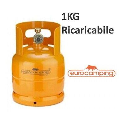 BOMBOLA GAS 1KG PROPANO RICARICABILE VUOTA CAMPING FORNELLINO