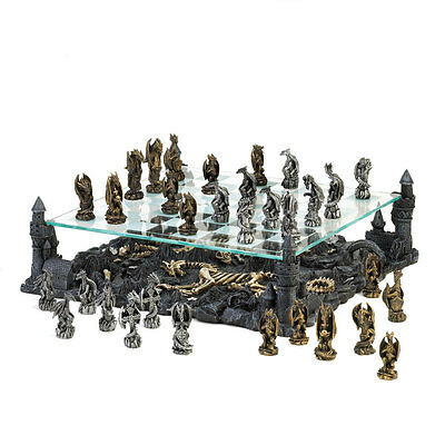 Black Dragon Chess Set Glass Board w/ Polyresin Base