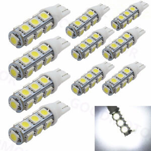 10 Pcs T5 T10 Wedge 1 2w Bulb Pure White Led For Malibu 12v