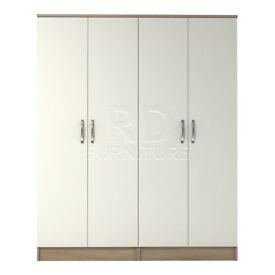 classy 4 door wardrobe oak and white