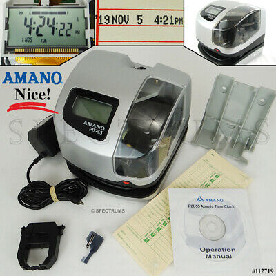 AMANO PIX 55 Automatic Electronic Atomic Employee Time Clock Recorder Very Nice! Atomic Time Recorder