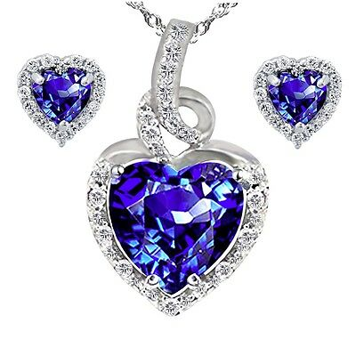 Sterling Silver Created Blue Sapphire Heart Cut Pendant Necklace & Earring Set