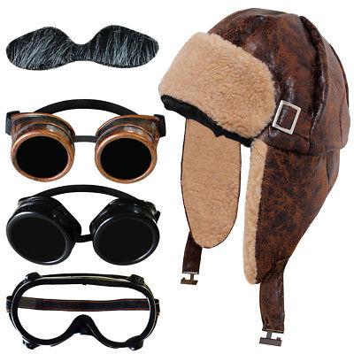 WW2 BIGGLES WARTIME FIGHTER PILOT SHEEPSKIN AVIATOR HAT AND CHOICE OF - Kostüm Aviator Goggles