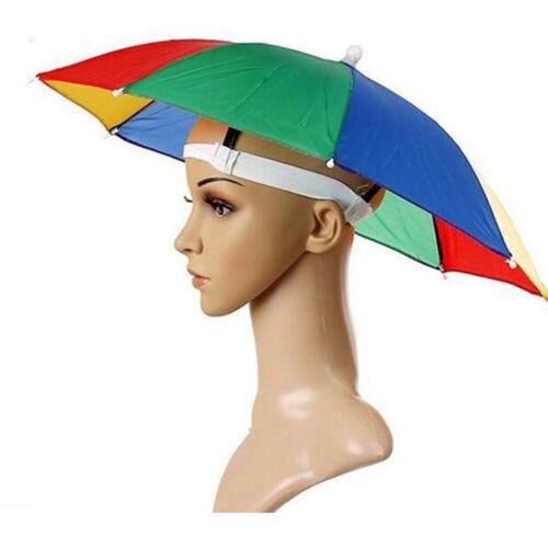 4 x Rainbow Umbrella Hat Cap Hands Free with Head Strap for Sun Rain