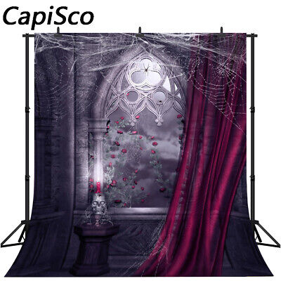 Photography Background Window Rose Spider Web Candle Halloween Photo Backdrops - Windows Halloween Backgrounds