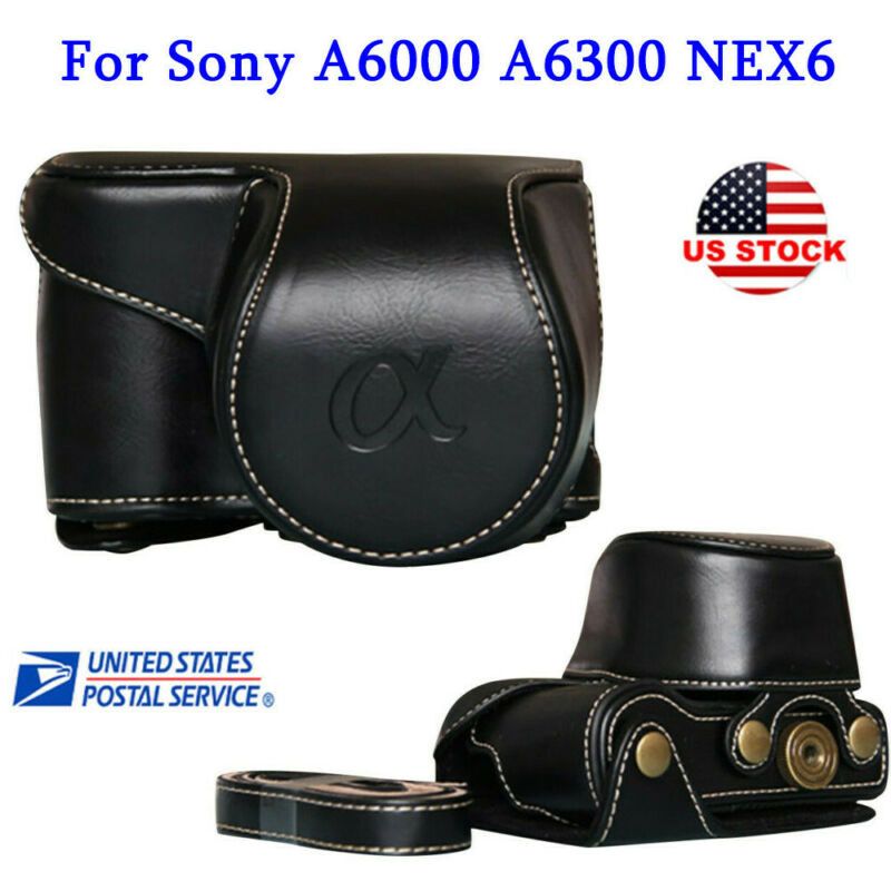 Leather Camera Bag Case Cover Pouch For Sony A6000 A6300 NEX