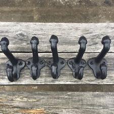 """Lot 5 Cast Iron Wall Coat Hooks Hat Hook Hall Tree 2 3/4"""" Vintage Style Black"""